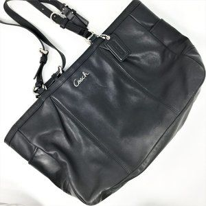COACH Black Leather Tote Shoulder Bag